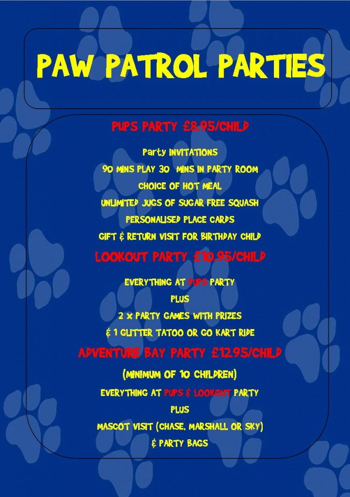 PAW PATROL PARTY LEAFLET